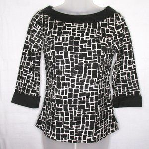 Ann Taylor 3/4 Sleeve Black And White Top